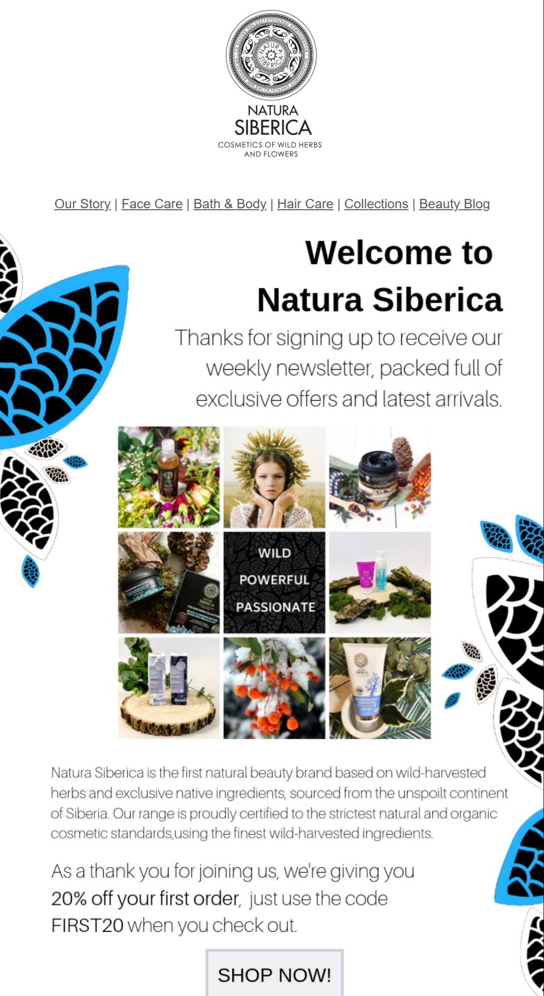 Natura Siberica welcome email marketing