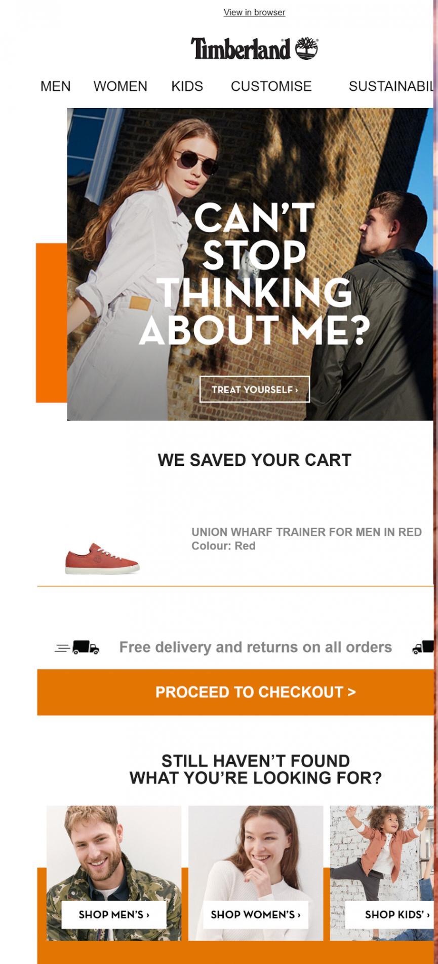 Timberland abandoned cart email marketing
