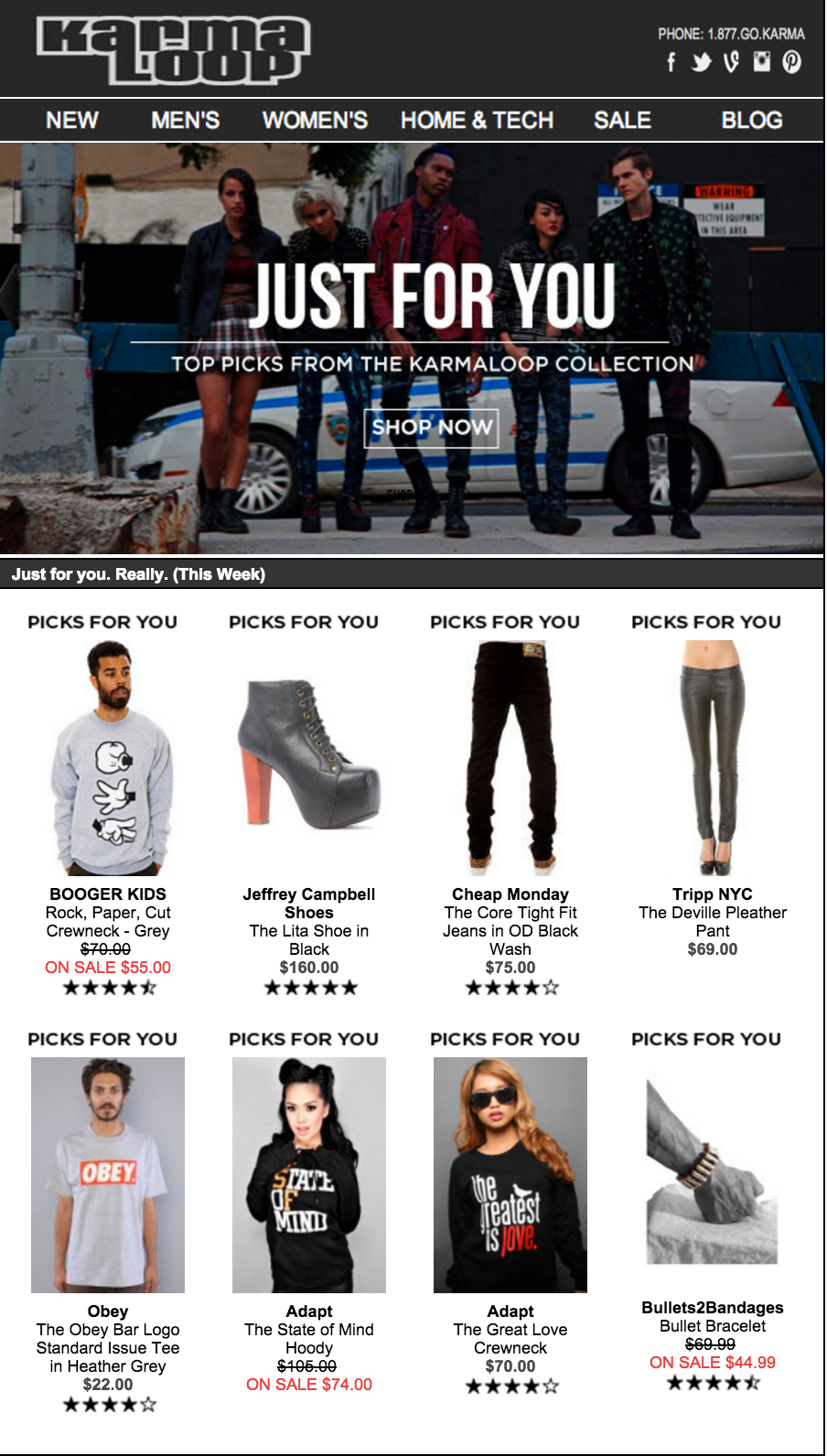 Karmaloop personalized recommendation email marketing